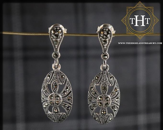 Pair of Elegant Sterling Silver 925 Art Deco Style Marcasite Gemstone Ornate Oval Shield Design Drop Dangle Earrings