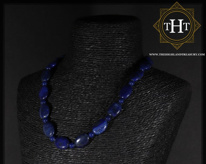 Vintage Sterling Silver 925 Blue & Gold Lapis Lazuli Oval Beaded Natural Gemstone Designed Necklace Chain With Spring Clasp