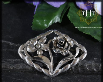 Vintage Art Nouveau Small Sterling Silver 925 Flower Floral Rose Design Brooch