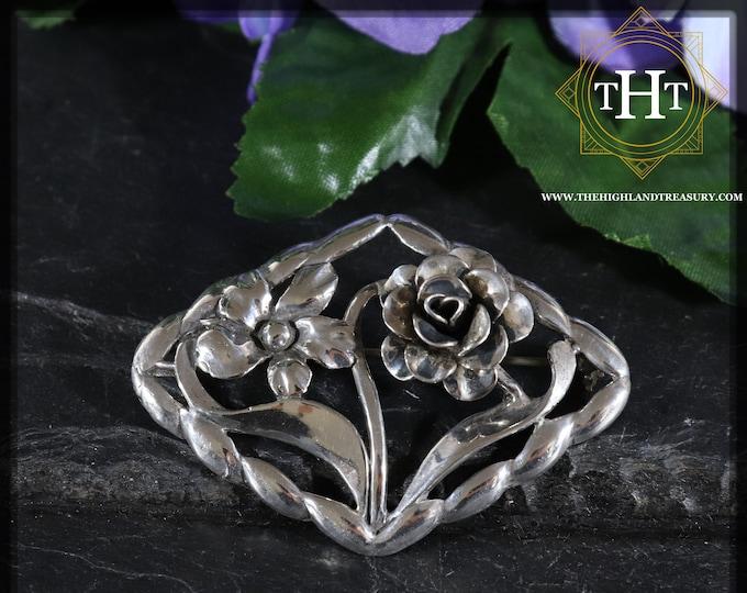 Vintage Art Nouveau Small Sterling Silver 925 Flower Floral Rose Design Brooch