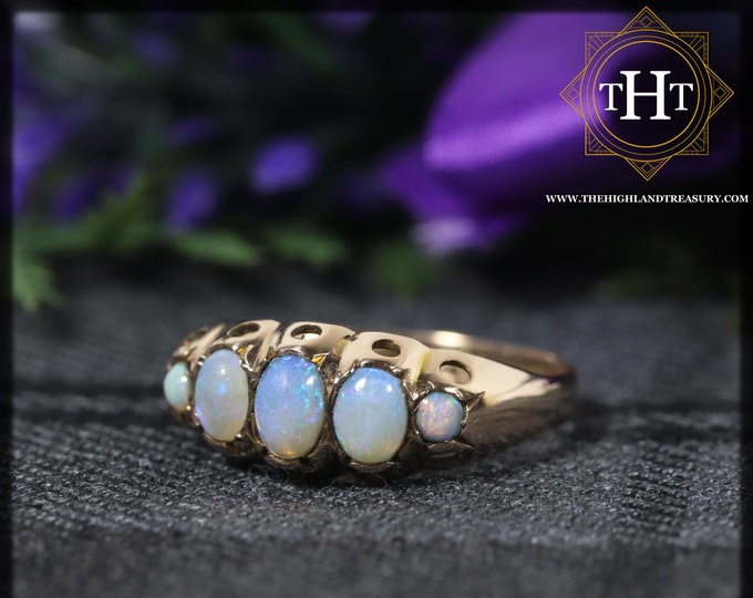 Edwardian 9Ct 9K 375 Solid Yellow Gold Band With Five Australian Crystal Green Blue White Opal Cabochon 0.35ct Gemstone Ring Size N - 6 1/2