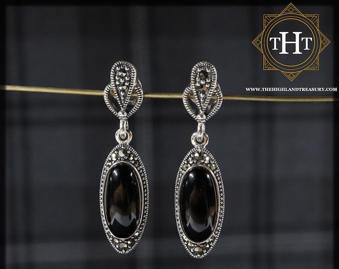 Elegant Sterling Silver 925 Art Deco Style Long Oval Black Onyx Marcasite Gemstone Drop Dangle Earrings