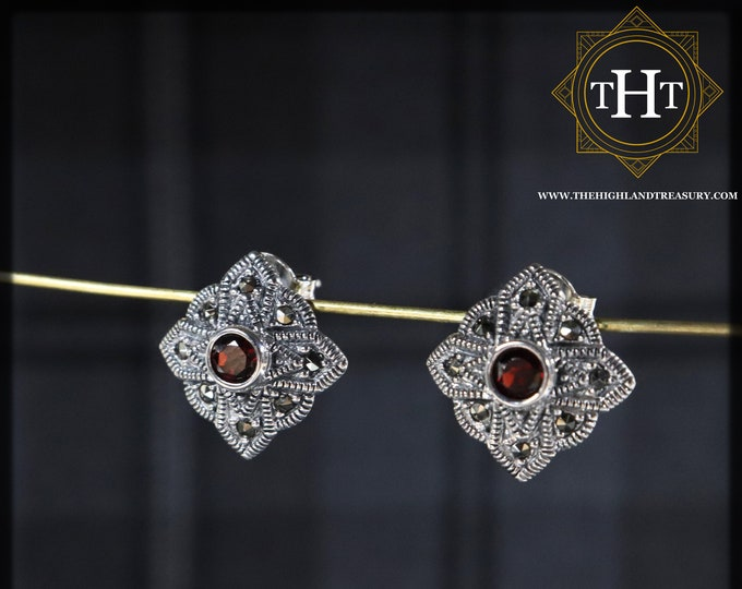 Vintage Sterling Silver 925 Art Deco Style Small Round Cut Dark Red Garnet Marcasite Gemstone January Birthstone Stud Earrings
