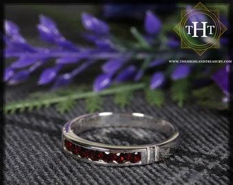 Sterling Silver 925 Minimalist Design Eternity Style Small Round Cut Dark Red Garnet Birthstone Gemstone Band Ring Size O - 7