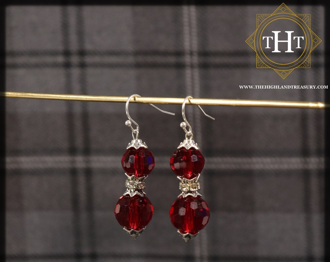 Pair of Retro Sterling Silver 925 1970/80's Style Cherry Red Coloured Facetted Glass Disco Balls Marcasite Drop Dangle Design Earrings