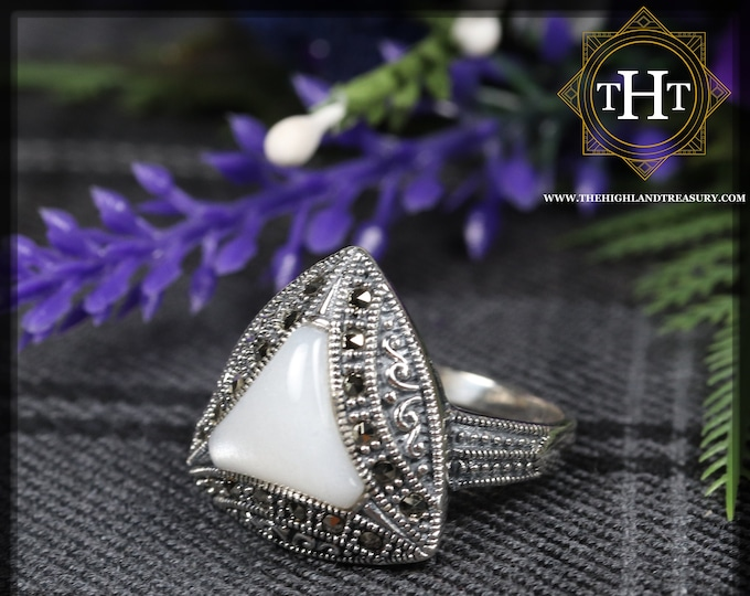 Vintage Sterling Silver 925 Art Deco Style Triangle Cut Vivid White Moonstone With Marcasite Gemstone Band Ring Size P - 7 1/2