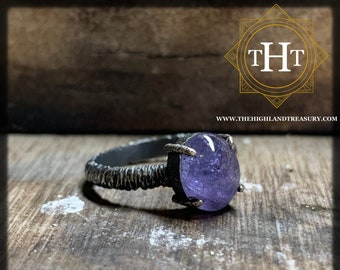 Handmade 925 Sterling Sliver 2ct Blue Tanzanite Natural Gemstone Cabochon Oxidised Distressed Gothic Biker Rough Designer Ring Size M - 6