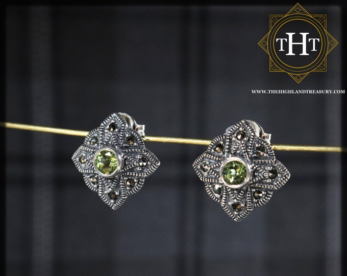 Vintage Sterling Silver 925 Art Deco Style Small Round Cut Green Peridot Marcasite Gemstone August Birthstone Star Design Stud Earrings