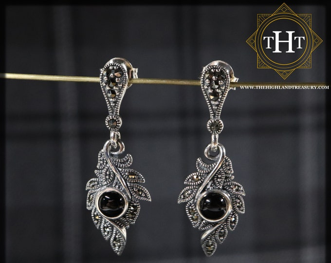 Sterling Silver 925 Art Deco Style Round Cabochon Cut Black Onyx Marcasite Gemstone Feather Design Drop Dangle Earrings