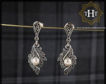 Pair of Vintage Sterling Silver 925 Art Deco Style Cream Coloured Fresh Water Pearl Marcasite Gemstone Feather Drop Dangle Design Earrings
