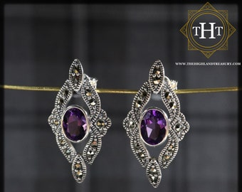 Art Deco Style Sterling Silver 925 Oval Cut 1ct Purple Amethyst Marcasite Gemstone February Birthstone Diamond Shape Design Stud Earrings
