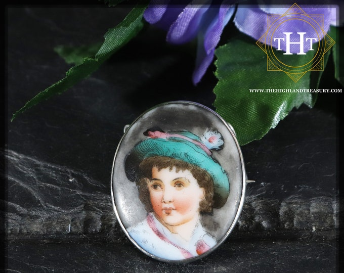 Antique Victorian Hand Painted Portrait Cameo Lady Sterling Silver 925  Pin Brooch / Pendant With C Clasp