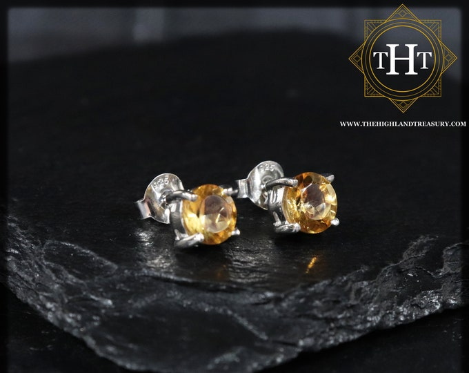 Pair of Vintage Sterling Silver 925 Large Delicate 7mm Round Cut Orange Citrine Gemstone November Birthstone Stud Earrings