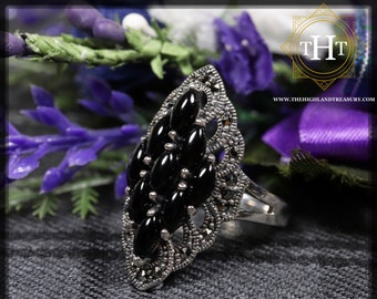 Vintage Sterling Silver 925 Art Deco Style Black Onyx Marquise Cabochon Cut Marcasite Gemstone Shield Design Ring Size P - 7 1/2