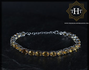 Sterling Silver 925 Claw Set Oval Yellow Citrine Natural Gemstone Birthstone Designed Bracelet With Lobster Clasp