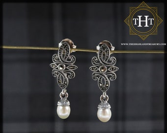 Pair of Sterling Silver 925 Art Deco Style Cream Coloured Fresh Water Pearl Marcasite Gemstone Star Design Drop Dangle Earrings