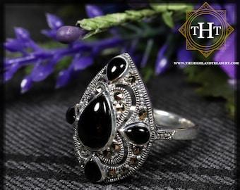 Vintage Art Deco Style Sterling Silver 925 Bezel Set Black Onyx Pear Cabochon Cut Marcasite Gemstone Shield Design Ring Size O - 7