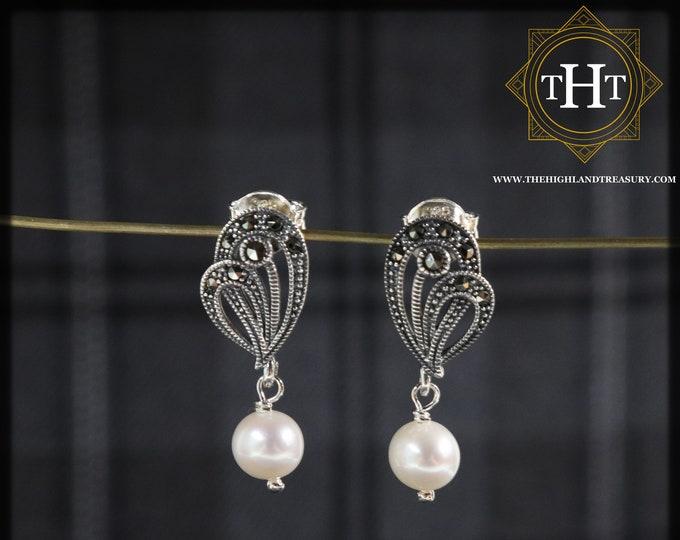 Pair of Sterling Silver 925 Art Deco Style Cream Coloured Fresh Water Pearl Marcasite Gemstone Ribbon Design Drop Dangle Earrings