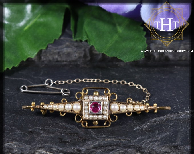 Elegant Long Art Nouveau 15ct 15k 625 Yellow Gold Light Pink Round Cut Ruby Gemstone And White Freshwater Seed Pearl Pin Brooch