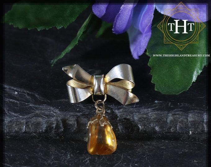 Small Vintage Gold Brass Bow Ribbon Natural Polished Orange Citrine Gemstone Birthstone Pin Brooch