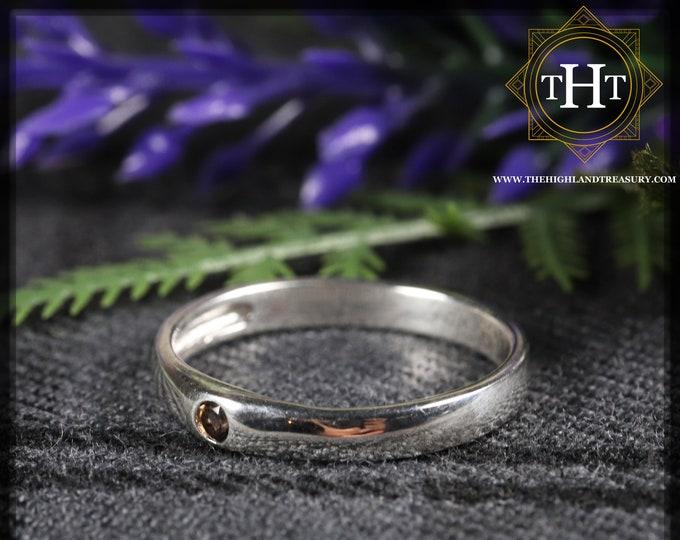 Sterling Silver 925 Minimalist Design Style Small Round Cut Brown Smokey Topaz Birthstone Gemstone Band Ring Size O - 7