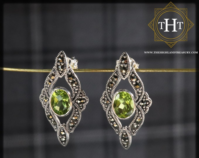 Art Deco Style Sterling Silver 925 Oval Cut 1ct Green Peridot Marcasite Gemstone August Birthstone Diamond Shape Design Stud Earrings