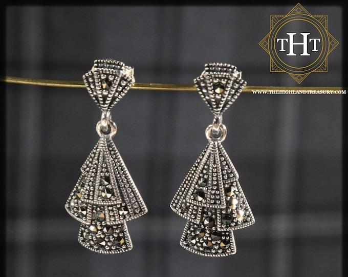 Vintage Sterling Silver 925 Art Deco Style Marcasite Gemstone Triangular Arrowhead Fan Geometric Design Drop Dangle Earrings