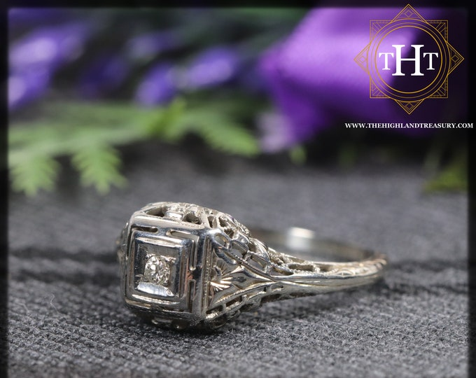 Antique 18K 18Ct 750 Solid White Gold Small Solitaire Old Natural Diamond Gemstone Wedding Engagement Filigree Flower Ring Size N - 6 1/2