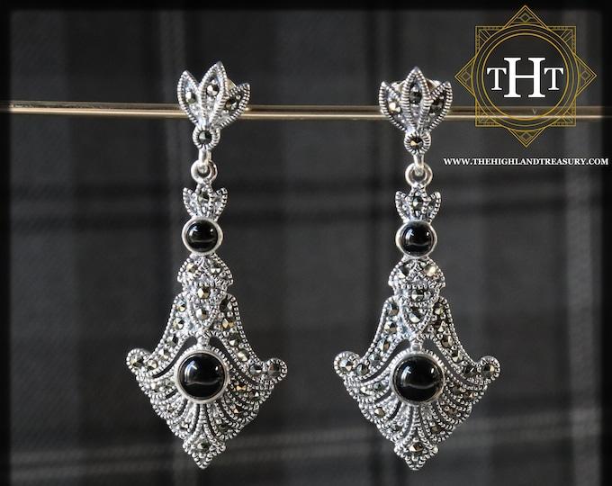 Sterling Silver 925 Art Deco Style Round Cut Cabochon Black Onyx Marcasite Gemstone Long Arrow Ornate Fan Design Drop Dangle Earrings