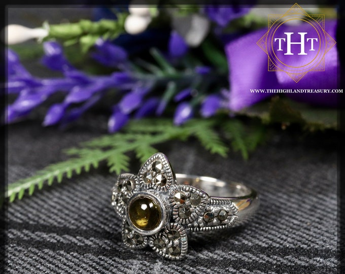 Vintage Sterling Silver 925 Art Deco Style White Round Cabachon Cut Yellow Tourmaline With Marcasite Gemstone Star Design Ring Size O - 7