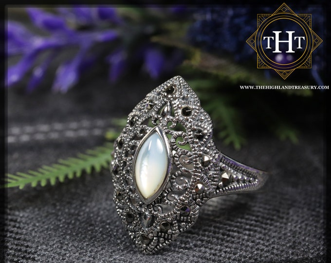 Vintage Art Deco Style Sterling Silver 925 Bezel Set Marquise Cut Cabochon Moonstone With Marcasite Gemstone Shield Design Ring Size O - 7