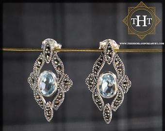 Art Deco Style Sterling Silver 925 Oval Cut 1ct Blue Topaz Marcasite Gemstone November Birthstone Diamond Shape Design Stud Earrings