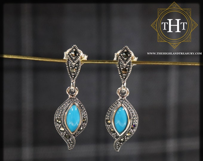 Sterling Silver 925 Art Deco Style Blue Marquise Cut Turquoise Colour Marcasite Navajo Feather Native American Design Drop Dangle Earrings