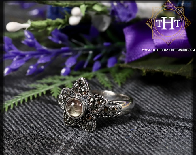 Vintage Sterling Silver 925 Art Deco Style Pale Clear Round Cabachon Cut Tourmaline With Marcasite Gemstone Star Design Ring Size O - 7