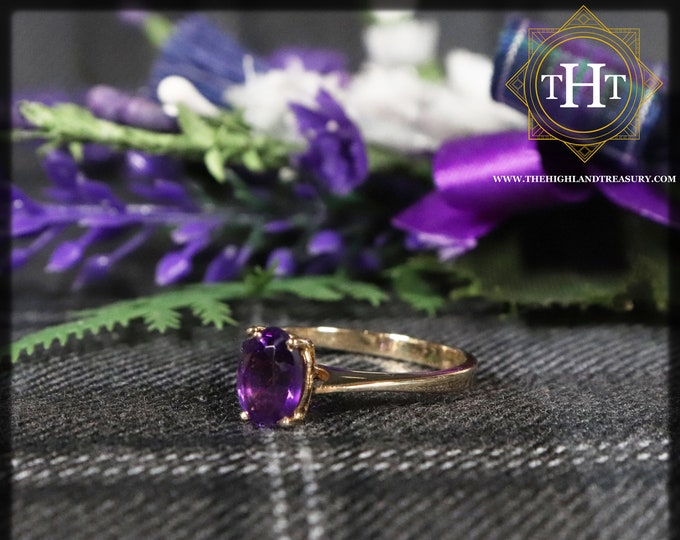 Vintage 9Ct 9K 375 Solid Yellow Gold Oval Cut Rich Purple Amethyst Gemstone Ring Size M 1/2 - 6 1/4.