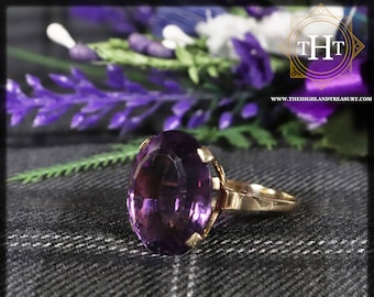 Vintage 9K 9Ct 375 Solid Yellow Gold Oval Cut Vibrant Purple Amethyst Natural Gemstone Cocktail Ring Size S 1/2 - 9 3/8