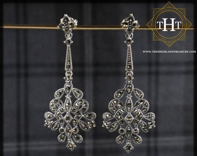 Pair of Elegant Sterling Silver 925 Art Nouveau Style Long Floral Bow Petal Statement Marcasite Gemstone Drop Dangle Earrings