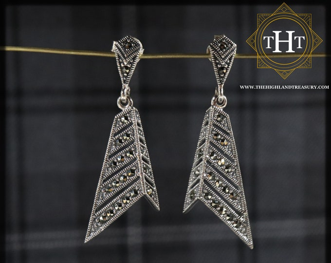 Pair of Stylish Sterling Silver 925 Art Deco Style Long Geometric Triangular Marcasite Gemstone Drop Dangle Earrings