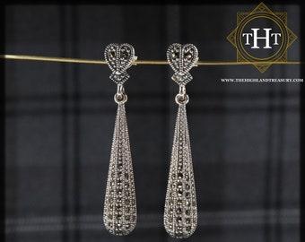 Elegant Pair of Sterling Silver 925 Art Deco Style Marcasite Gemstone Long Heart Teardrop Design Drop Dangle Earrings.