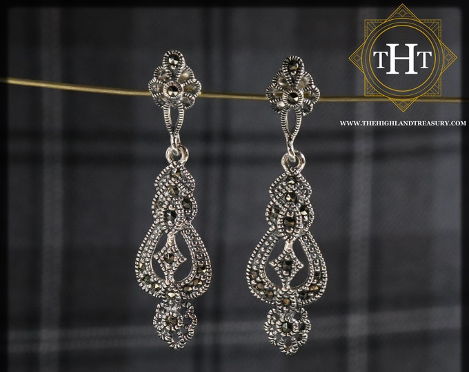 Elegant Pair of Sterling Silver 925 Art Nouveau Style Marcasite Gemstone Long Ornate Filigree Drop Dangle Earrings