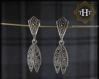 Elegant Pair of Sterling Silver 925 Art Deco Style Marcasite Gemstone Long Feather Wing Drop Dangle Earrings