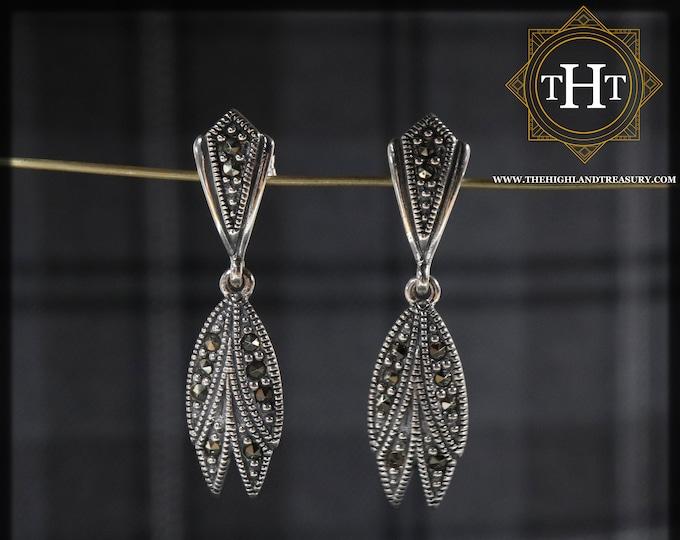 Elegant Pair of Sterling Silver 925 Art Deco Style Marcasite Gemstone Long Feather Wing Drop Dangle Earrings