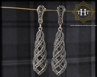 Elegant Pair of Sterling Silver 925 Art Deco Style Marcasite Gemstone Long Threaded Cross Over Drop Dangle Earrings