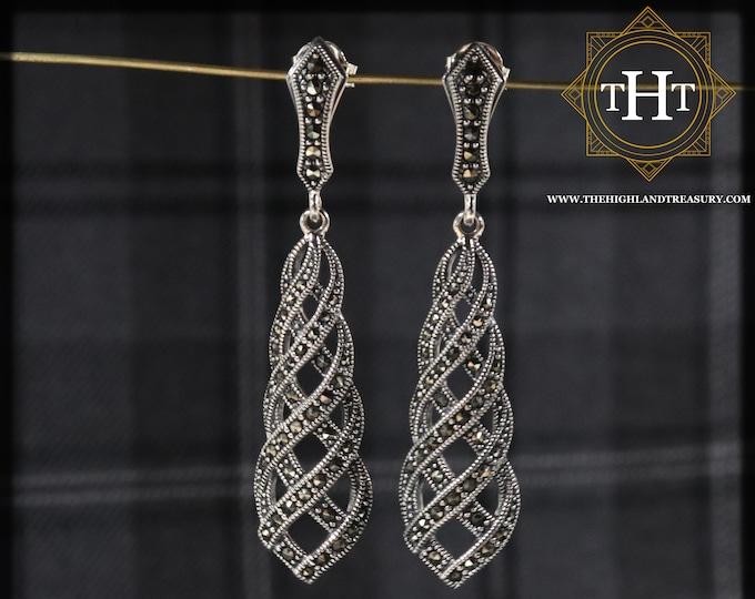 Elegant Pair of Sterling Silver 925 Art Deco Style Marcasite Gemstone Long Threaded Cross Over Drop Dangle Earrings