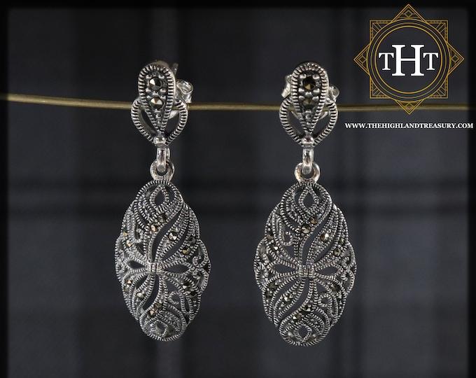 Pair of Elegant Sterling Silver 925 Art Deco Style Marcasite Gemstone Ornate Floral Oval Shield Design Drop Dangle Earrings