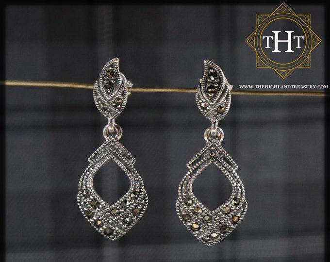 Elegant Pair of Sterling Silver 925 Art Deco Style Marcasite Gemstone Leaf Spade Design Drop Dangle Earrings