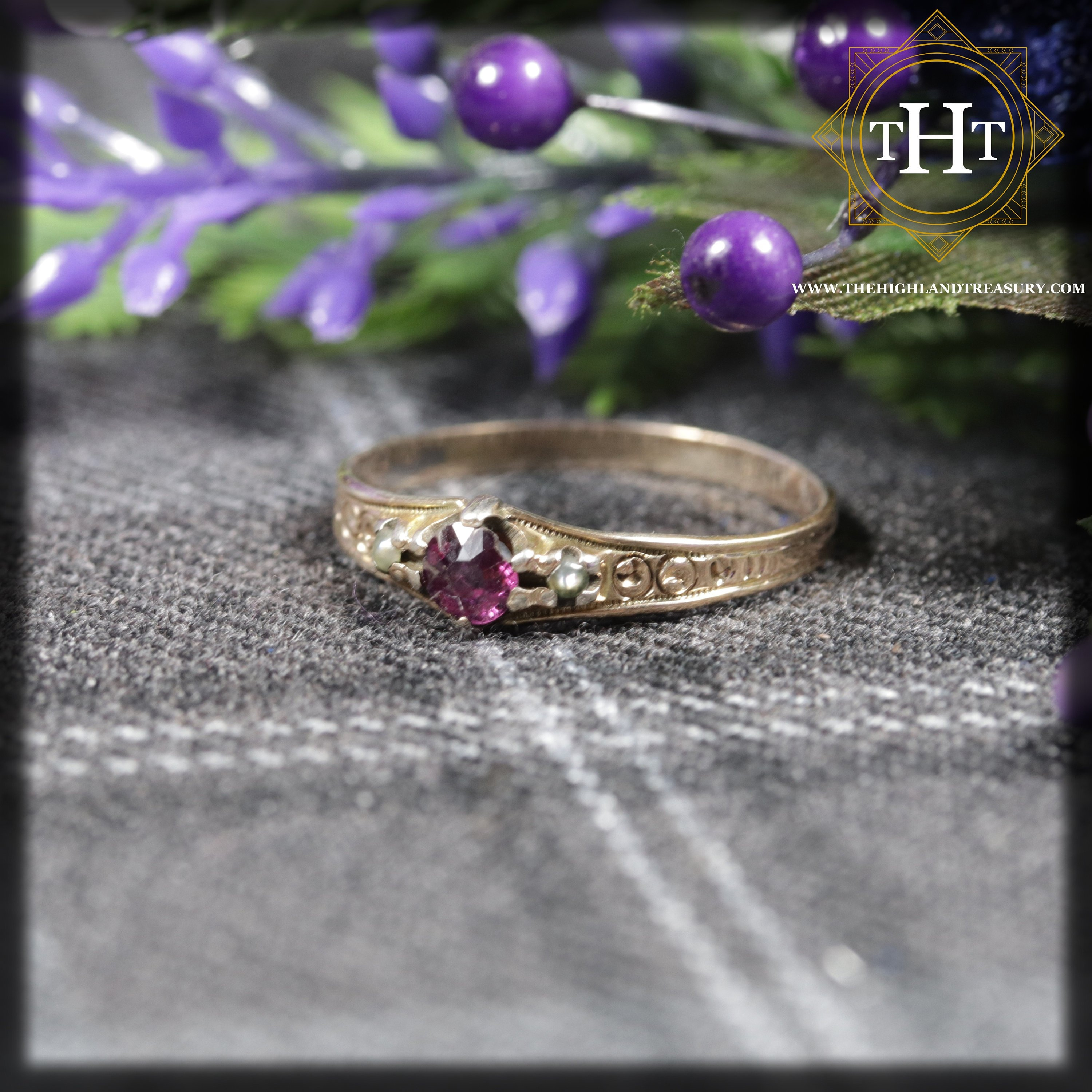 303c183a4 Edwardian 9K 9Ct 375 Solid Yellow Gold Round Cut Pink Ruby & Grey Cultured  Pearl Natural Gemstone Ring Size M 1/2 - 6 1/4
