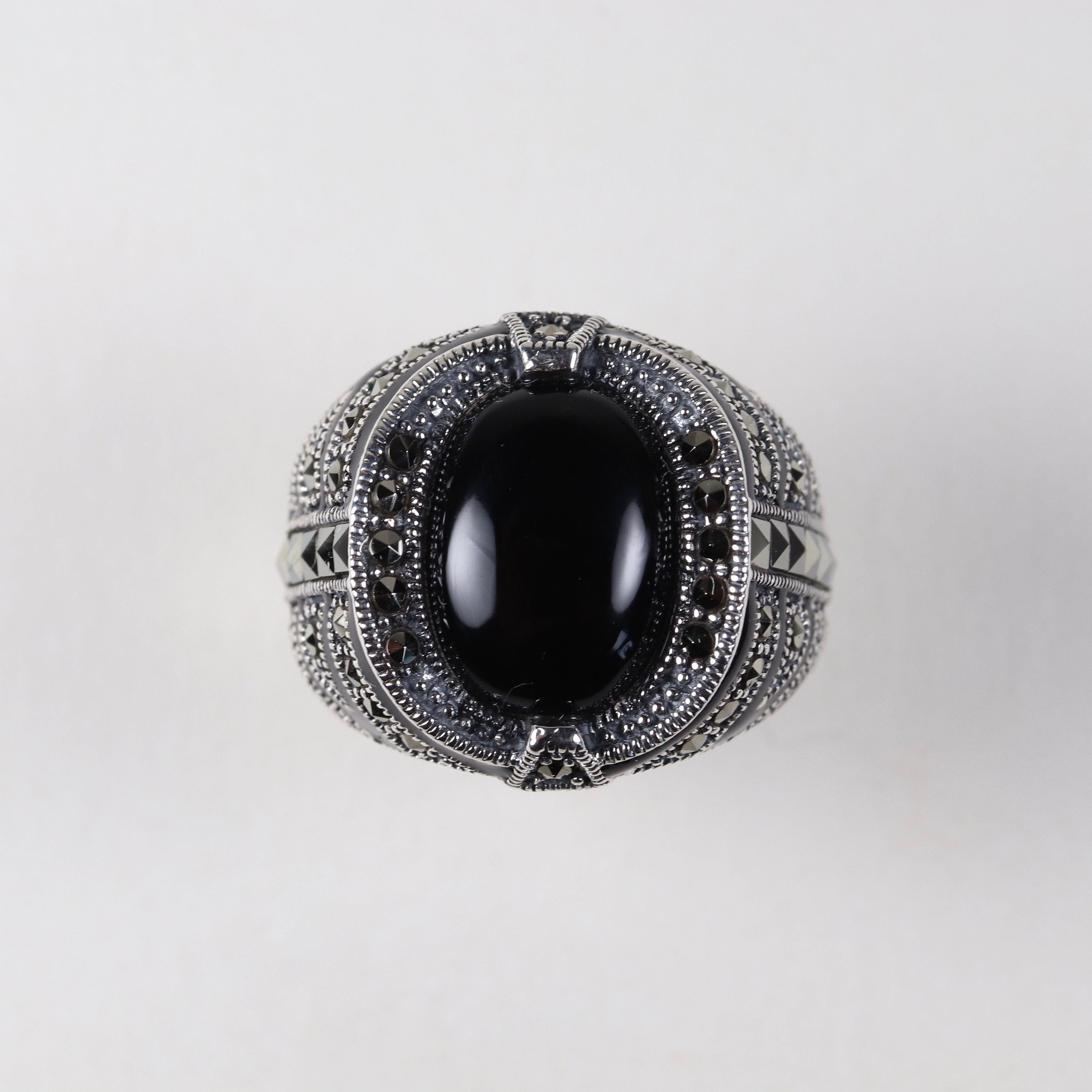 Sterling Silver Oval Cabochon Black Onyx and Marcasite Art Deco Ring Size P