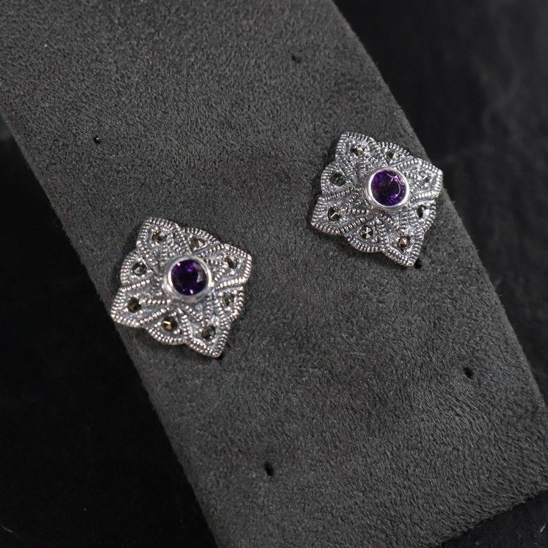 Pair of Vintage Sterling Silver 925 Art Deco Style Small Round Cut Purple Amethyst Marcasite Gemstone February Birthstone Stud Earrings