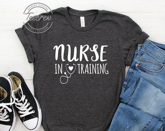 a0d4be32f3f Nurse In Training Shirt, Future Nurse Life, Coffee Scrubs Rubber Gloves RN  Registered Nurse, Nursing School Student Stethoscope Graduation